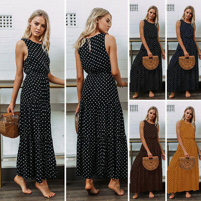 UK Womens Polkadot Long Maxi Dress Ladie Evening Party Summer Sundress Size 6-20