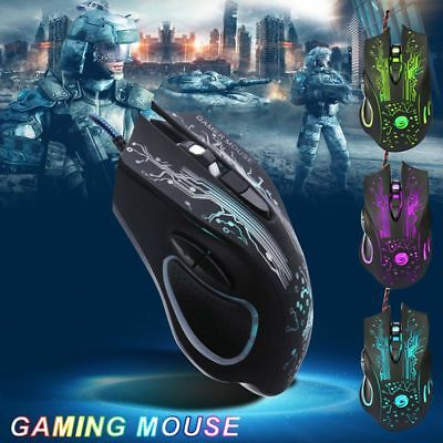 Wired LED Gaming Maus 3200 DPI Optisch Kabel Gewichte 6 Tasten USB Gamer Mouse