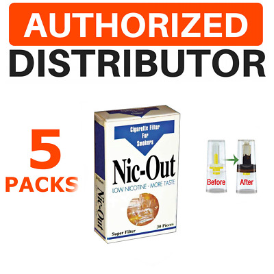 Nic-Out 5 Packs 150 Cigarette Filters Tips Out Tar & Nicotine + Samples