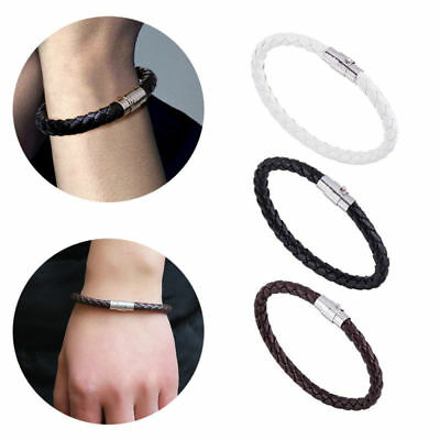 Mens Boys Leather Braided Wristband Bracelet Stainless Steel Magnetic Clasp Gift