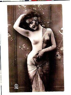 Postcard Old Phtograph Of Vintage Pin-Up Nude This Is A Reproduction