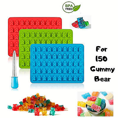 150 Gummy Bear Silicone Mold Maker Candy Jelly Chocolate Ice Supplies Droper