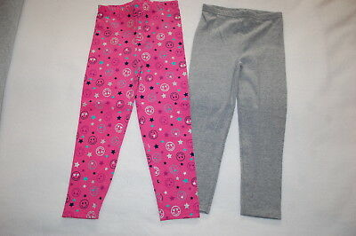 02f75925817a29 Toddler Girls 2 PAIR LOT LEGGINGS Heather Gray EMOJI FACES STARS HEARTS  Pink 5T