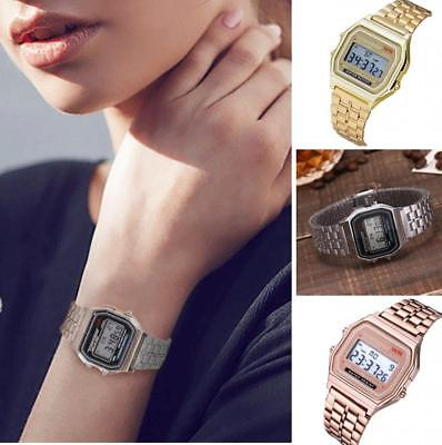Simple Men Women Digital Display Square Dial Alarm Stopwatch Wrist Watch Conven