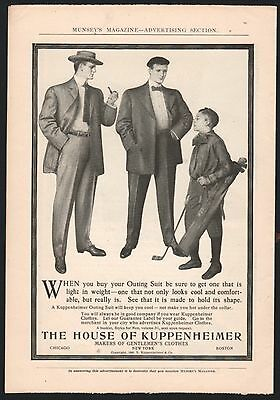 1904 KUPPENHEIMER Men's Fashion Vintage Clothing AD Boy Golf Caddy Outing Suit