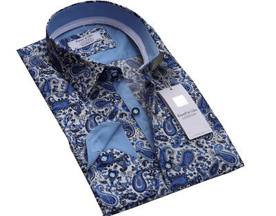 Men`s Luxury Cotton Designer Paisley Shirt Sizes S to 3XL Formal Casual Floral