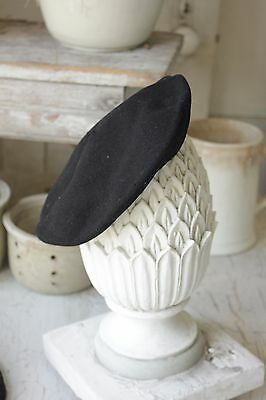 Antique French Beret c1900 wool black old hat Cute CHILD's children's or Baby