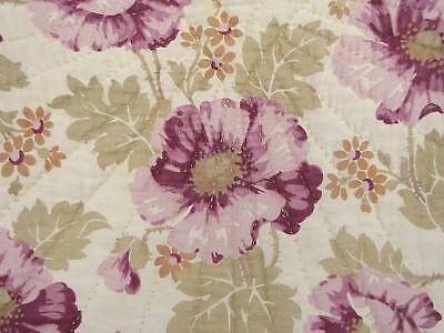 Antique French quilt c1920 floral Purple Poppy design Boutis large LOVELY