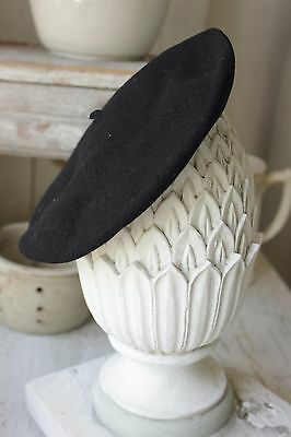 Beret Hat Antique French c1900 wool black old artists cap