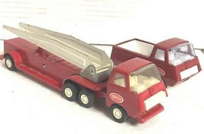 Vintage 1960s Tiny Tonka Hook & Ladder Fire Truck with Arial Ladder Red Truck