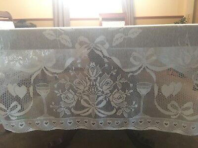 vtg White Lace Tablecloth Heart Cherub Roses Champagne Bell Wedding ring 70x104
