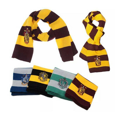 Harry Potter Scarf Gryffindor Hufflepuff Slytherin Ravenclaw Cosplay Gifts Badge