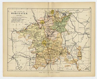 1898 Antique Map Of County Of Worcester Worcestershire England
