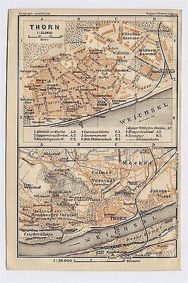 1904 Original Antique Map Of Thorn Torun Copernicus / Poland / Prussia Germany