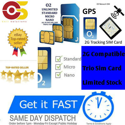 NEW O2 2G Sim Card for GPS Tracking Device Tracker GSM Car Pet Child  Personal