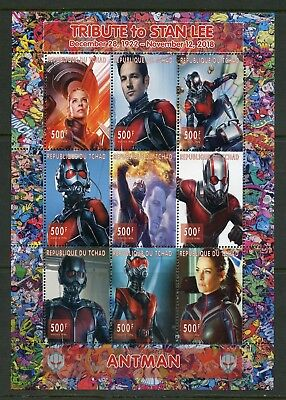 Chad 2018 Tribute To Stan Lee 'antman' Imperf Sheet (9) Mint Never Hinged