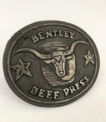 Vtg Cast Iron Longhorn Bentley Beef Press meat grill cow cattle