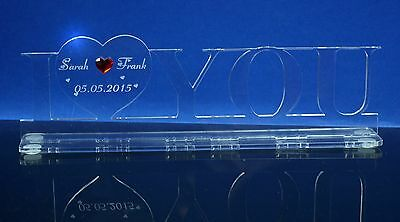 Valentinstag Aufsteller Acryl I LOVE YOU mit Gravur made with Swarovski Kristall