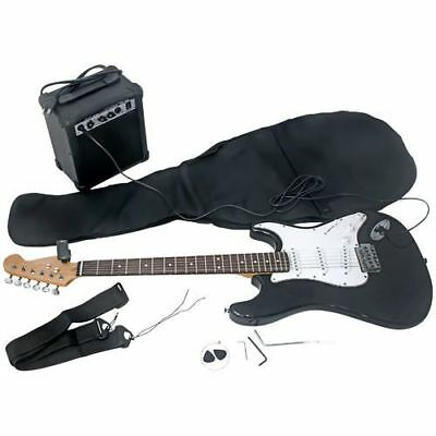 """NEW Avgo 40"""" Full Size Electric Guitar Kit with Amplifier - Black"""