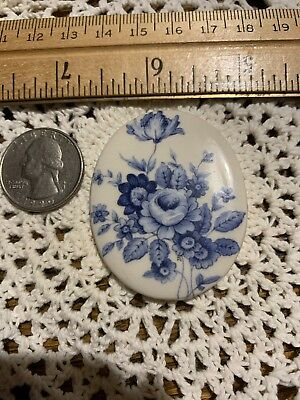 Beautiful Blue Roses -1 Jewelry Pendant Or Mosaic Tile Handmade Kiln Fired Clay