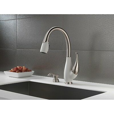 Delta Fuse Steel and White Pull Down Kitchen Sink Faucet & Soap Dispenser D076CR