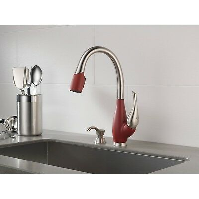 Delta Fuse Steel and Red Pull Down Kitchen Sink Faucet and Soap Dispenser D075CR
