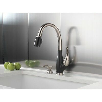 Delta Fuse Steel and Black Pull Down Kitchen Faucet and Soap Dispenser D074CR
