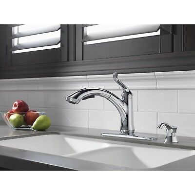 Delta Chrome Linden Pull-Out Kitchen Faucet and Soap Dispenser Package D064CR