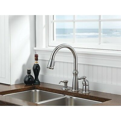Delta Victorian Pull Down Kitchen Sink Faucet with Soap Dispenser D025CR, Steel