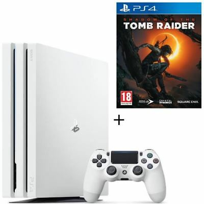 Pack PS4 Pro 1 To Blanche + Shadow of the Tomb Raider Jeu PS4