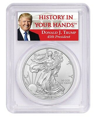 2019 1oz Silver Eagle PCGS MS70 Donald Trump Label
