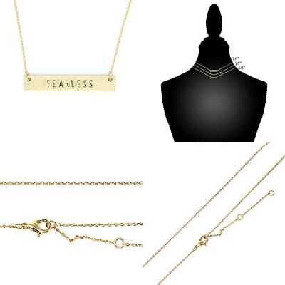 """Inspirational Horizontal Engraved Bar Pendant Necklace """"FEARLESS"""" GOLD Womens"""