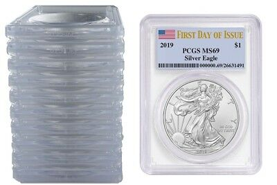 2019 1oz Silver Eagle PCGS MS69 - First Day Issue Label - 10 Pack