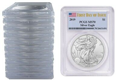 2019 1oz Silver Eagle PCGS MS70 - First Day Issue Label - 10 Pack