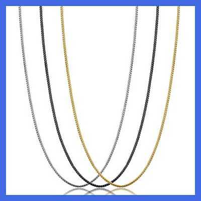 3 Pcs 1MM Stainless Steel Box Chain Necklace For Women Thin Se 18 In Mens