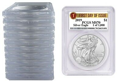 2019 1oz Silver Eagle PCGS MS70 First Day Issue - 1 of 1000 - 10 Pack