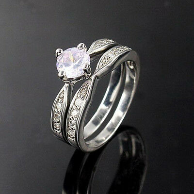 Wedding Rings 925 Silver Plated Ring Sz 6 7 8 9 Lover Couple Wife Husband New t