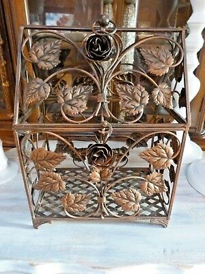 BEST COPPER Wash BIRD CAGE Tole Roses & Foliage