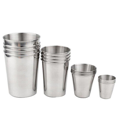 Stainless Steel Beer Wine Cups Drinking Coffee Tumbler Mugs - Set Size 1 2 3 4 6