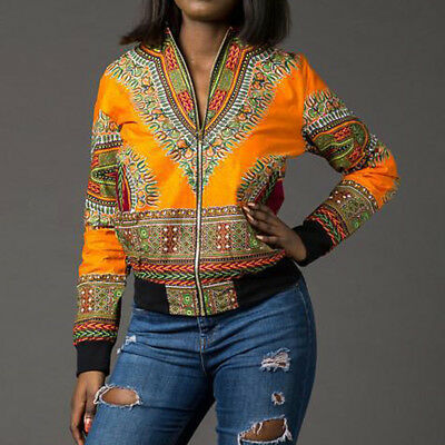 Ladies Coat Jackets Traditional African Printed Long Sleeve