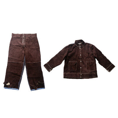Welding Jacket Welding Trousers Flame-Resistant Cowhide Leather Brown 2PC XL