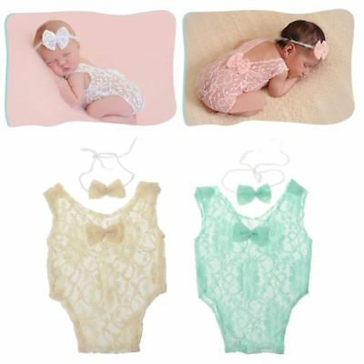 2 Pcs Baby Photography Props Backless Hollow Bowknot Lace Romper Newborn Outfit