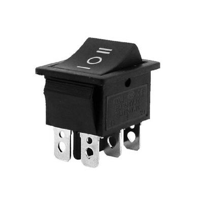 5Pcs Latching 3 Position On/Off/On Black Rectangle Rocker Switch 6 Pins 12V