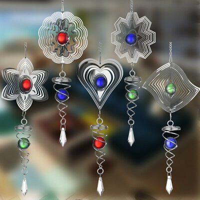3D Metal Hanging Wind Spinner Wind Chime with Helix Tail Glass Ball Center Decor