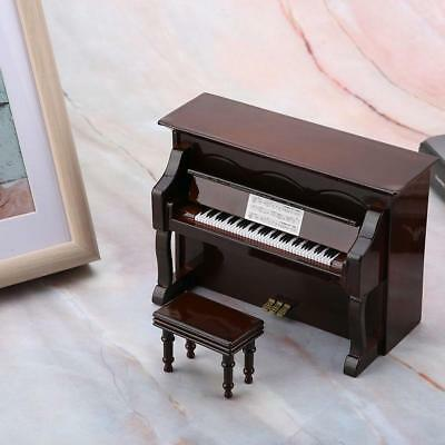 Miniature Furniture Wooden Grand Piano Music Box Model with Bench Home Art Decor