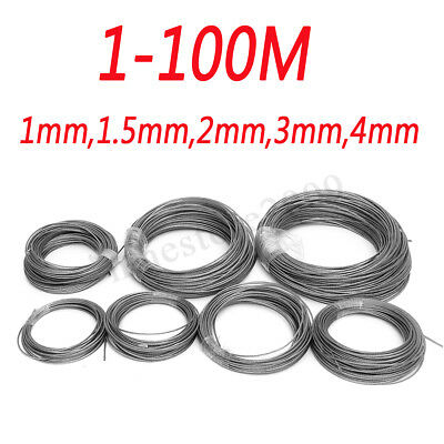 1-100M 1mm 1.5mm 2mm 3mm 4mm Stainless Steel Wire Rope Cable Railings 7x7