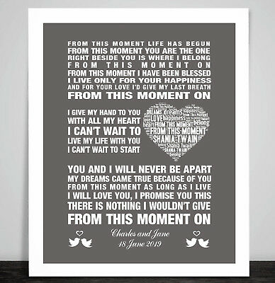 PERSONALISED Shania Twain From This Moment Music Wedding Song Dance Lyric Print