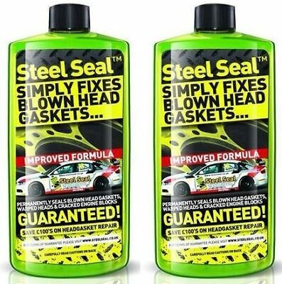 Steel Seal Pour In Engine Head Block & Gasket Fix Liquid Green Kit x 2