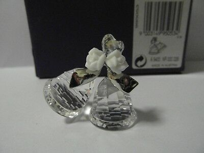 Swarovski  Silver Crystal Wedding Bells With Heart And Roses