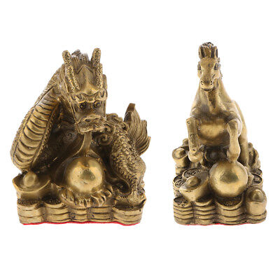 2pcs Chinese Feng Shui Zodiac Animal Figurines Dragon Horse Statue Ornaments